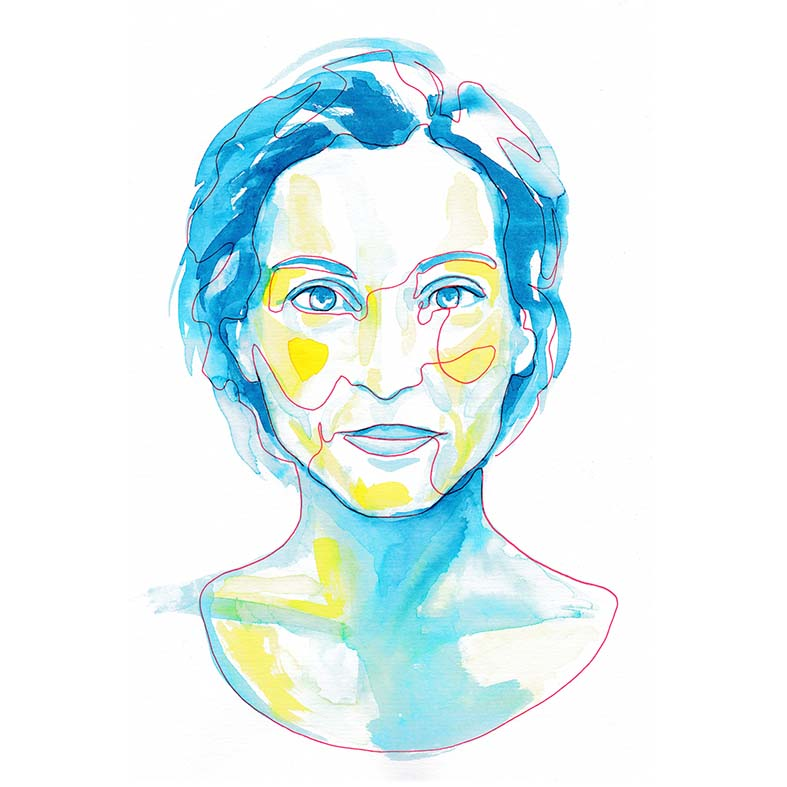 Red Single Line and Watercolor Blue Portrait ©Pascale Guillou