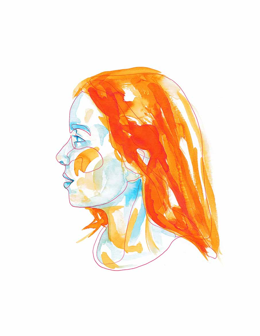 Red Single Line and Watercolor Orange and Blue Portrait ©Pascale Guillou