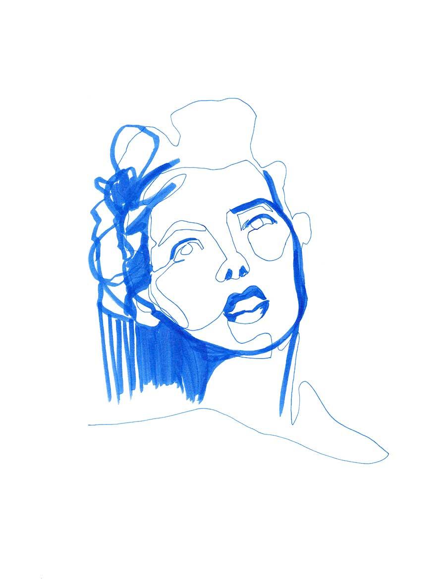Blue Single Line Portrait Fineliner ©Pascale Guillou
