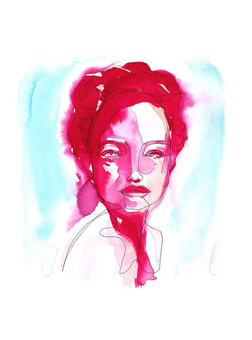 Black Single Line and Watercolor Pink Blue Portrait ©Pascale Guillou