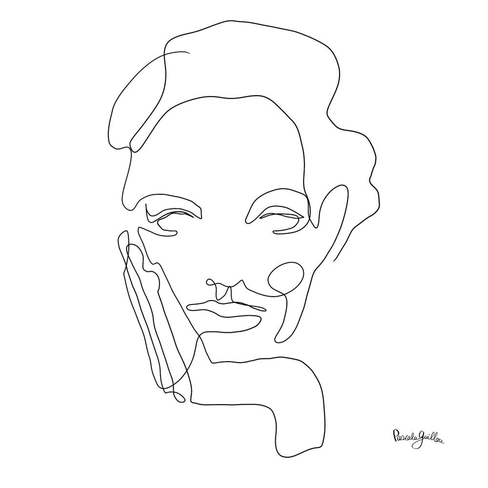 Single Line Woman with Hand ©Pascale Guillou