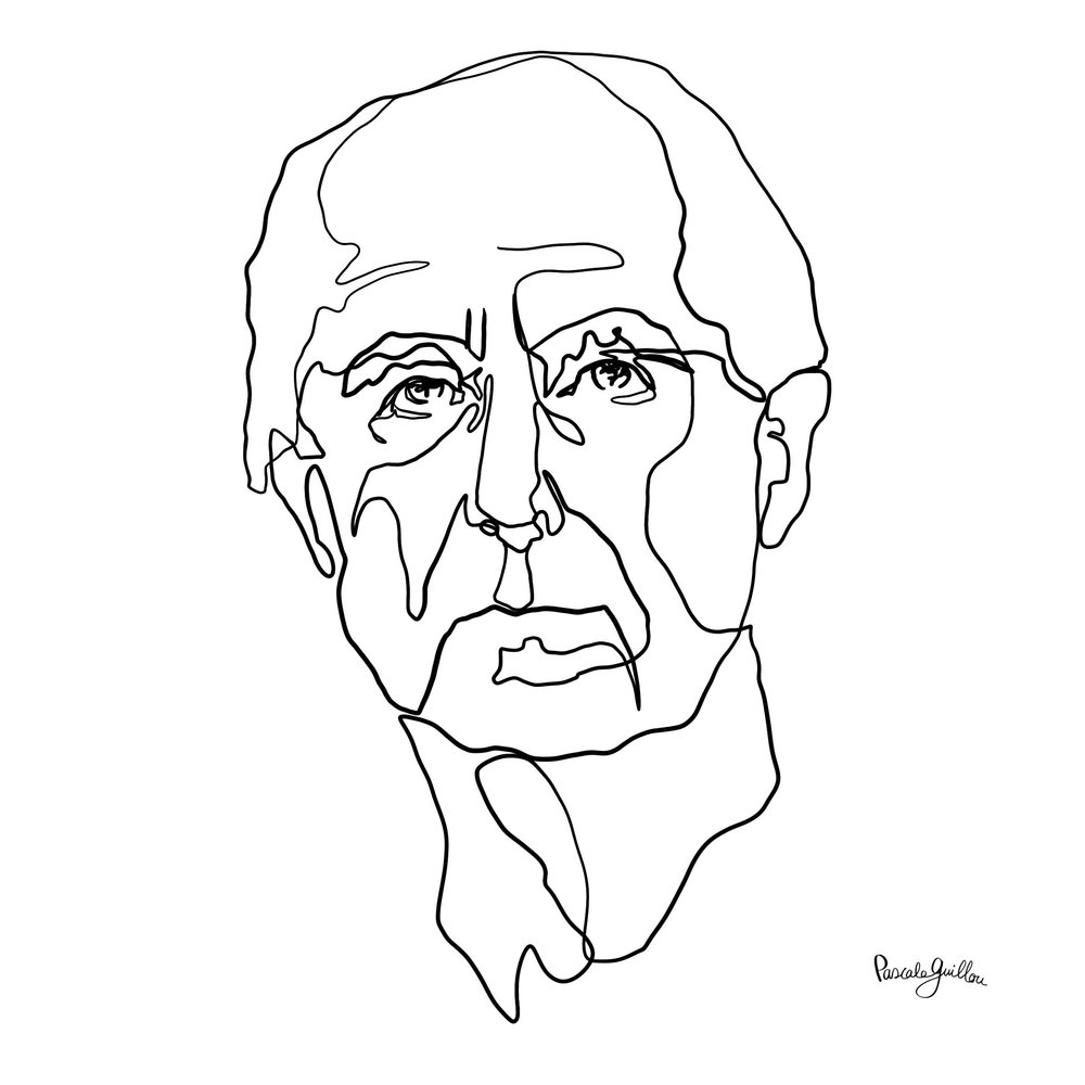 Single Line Philip Roth Portrait ©Pascale Guillou