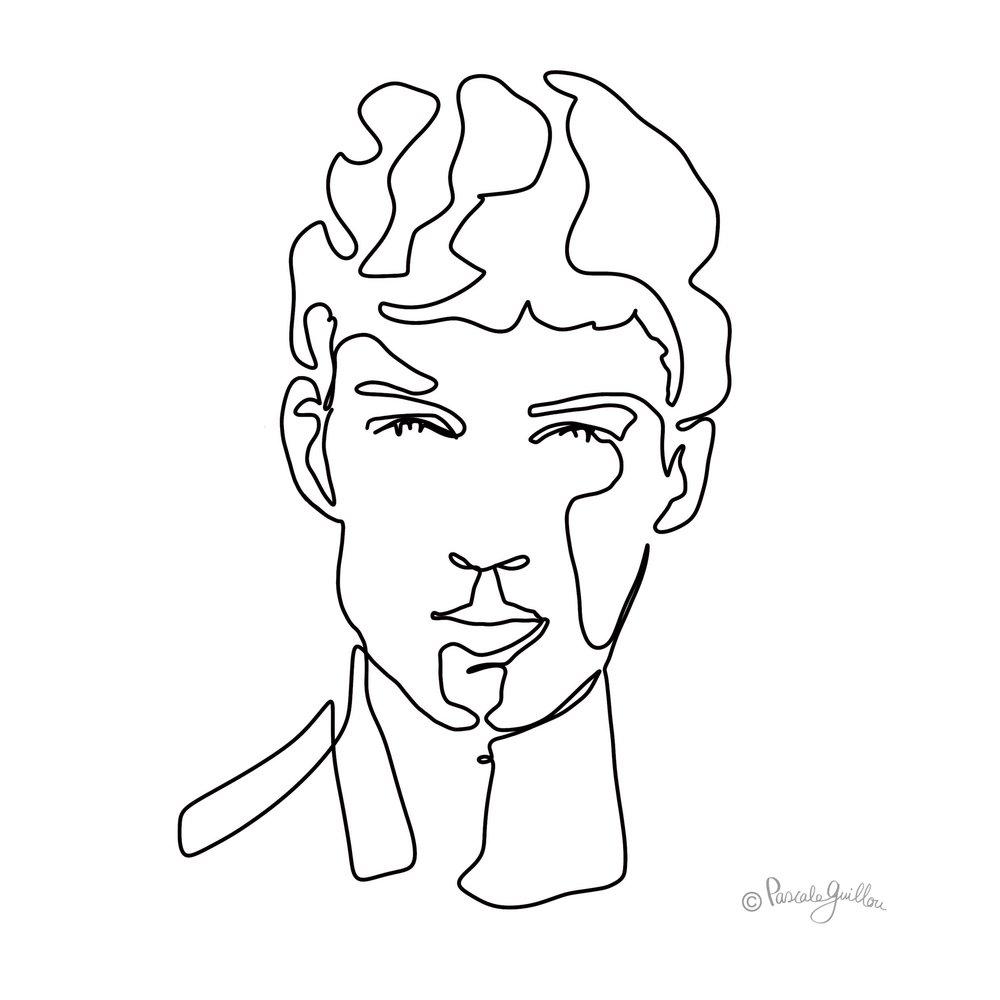 Bastian Thiery One line portrait ©Pascale Guillou