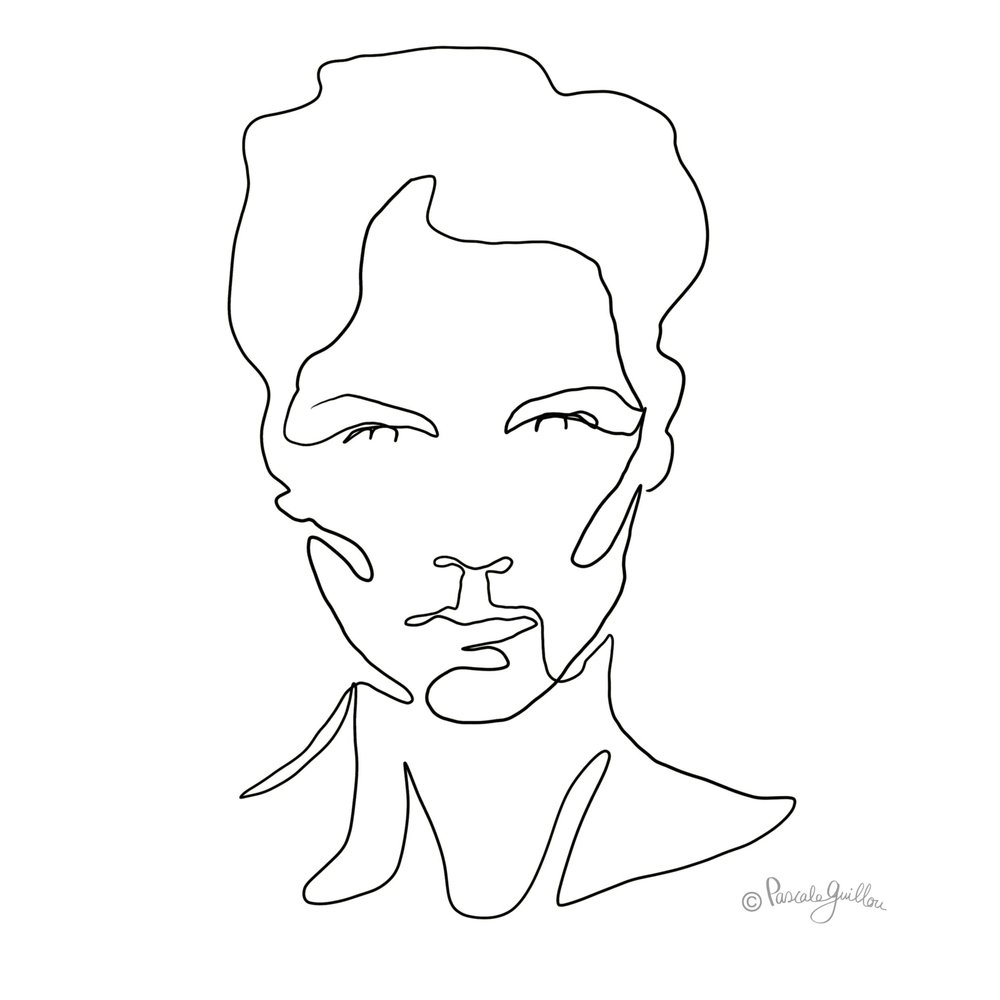 One Line Portrait Woman 1 ©Pascale Guillou Illustration - Single Line - Continuous Line Drawing