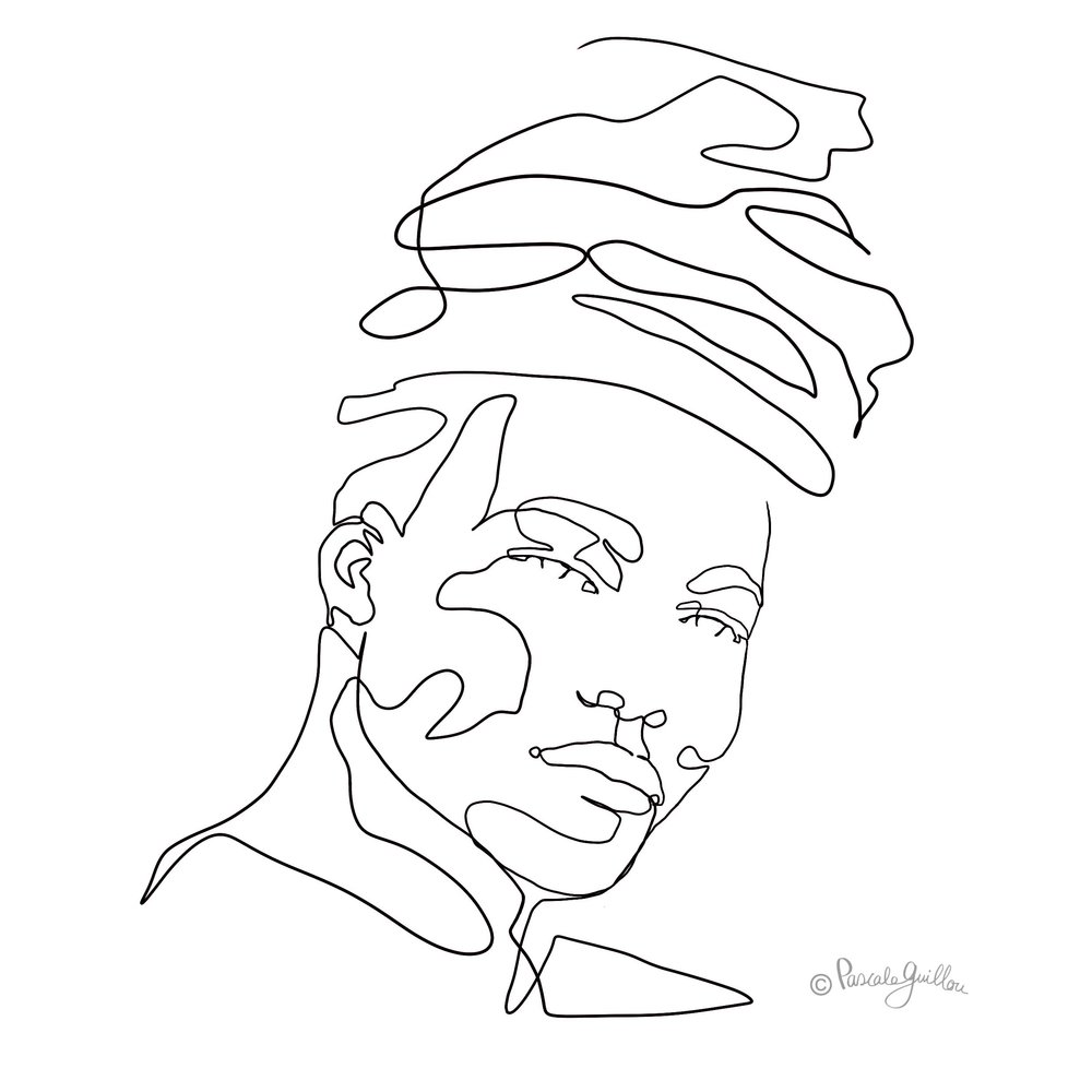 Benjamin Clementine one line portrait ©Pascale Guillou Illustration - Single Line - Continuous Line Drawing