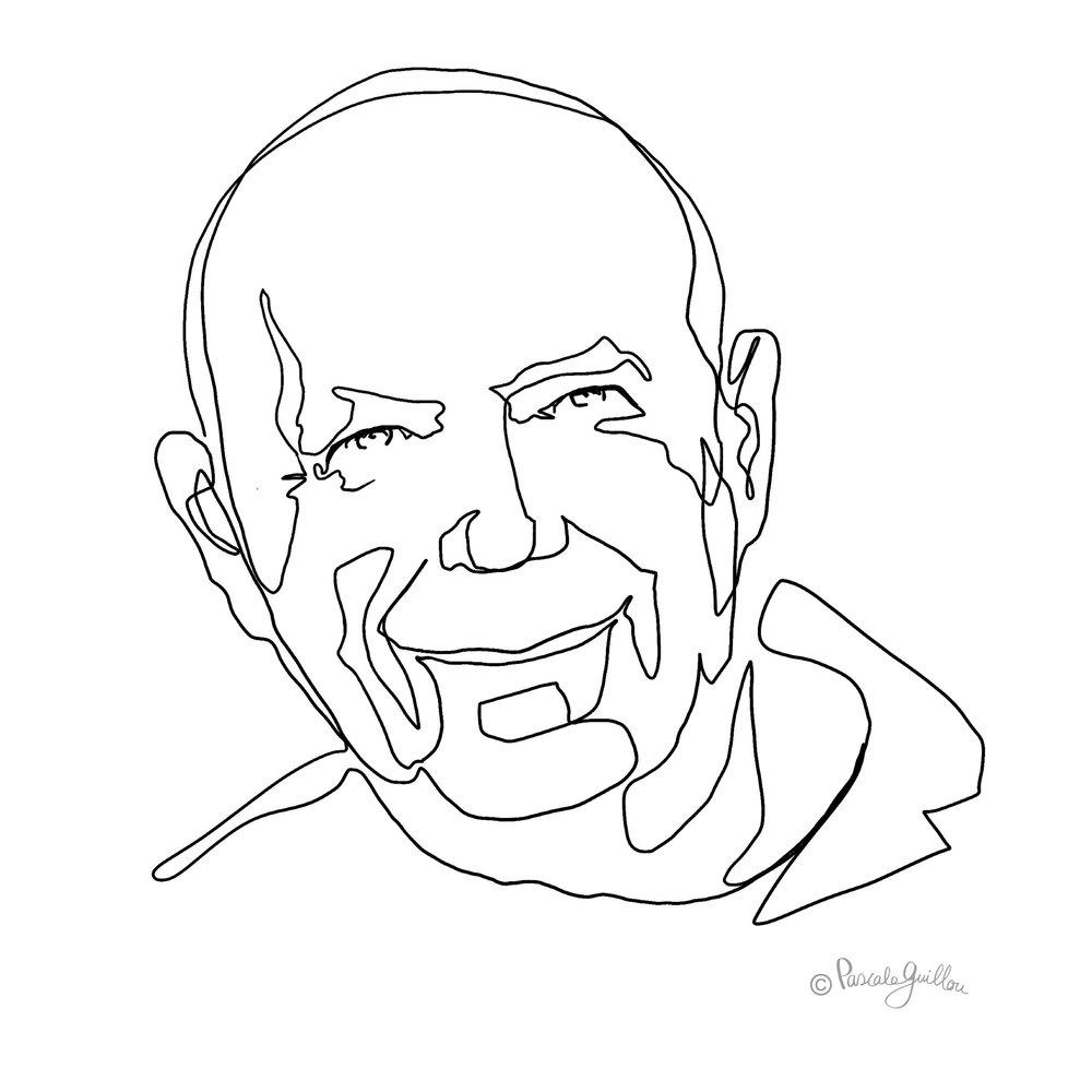 Francois Guillou Portrait one line ©Pascale Guillou Illustration - Single Line - Continuous Line Drawing