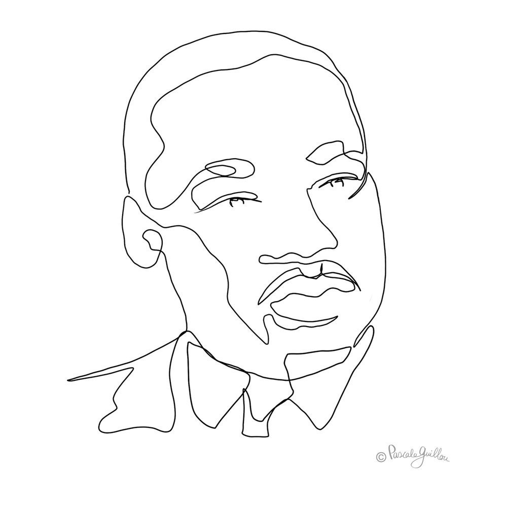 Martin Luther King One line portrait ©Pascale Guillou