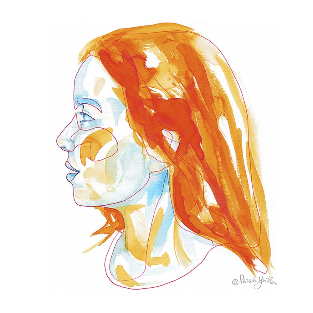 Portrait Teenager girl Red line orange blue One Line Portrait ©Pascale Guillou Illustration - Single Line - Continuous Line Drawing