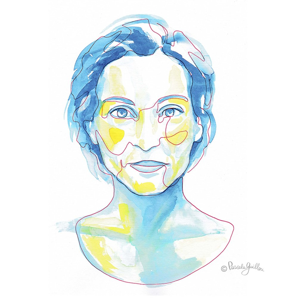 Woman Blue yellow One line portrait ©Pascale Guillou