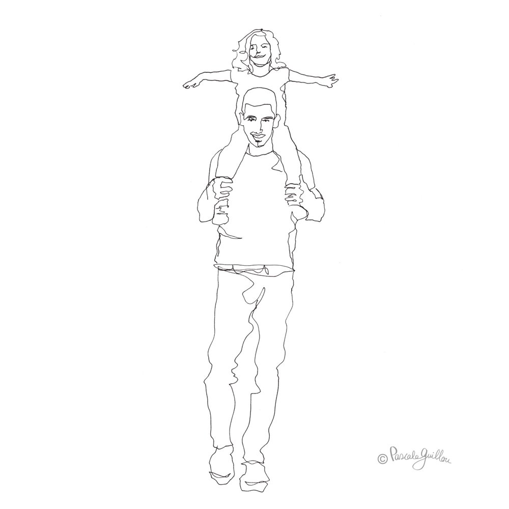 Pascale Guillou Illustration © Father & Daughter on shoulders.jpg