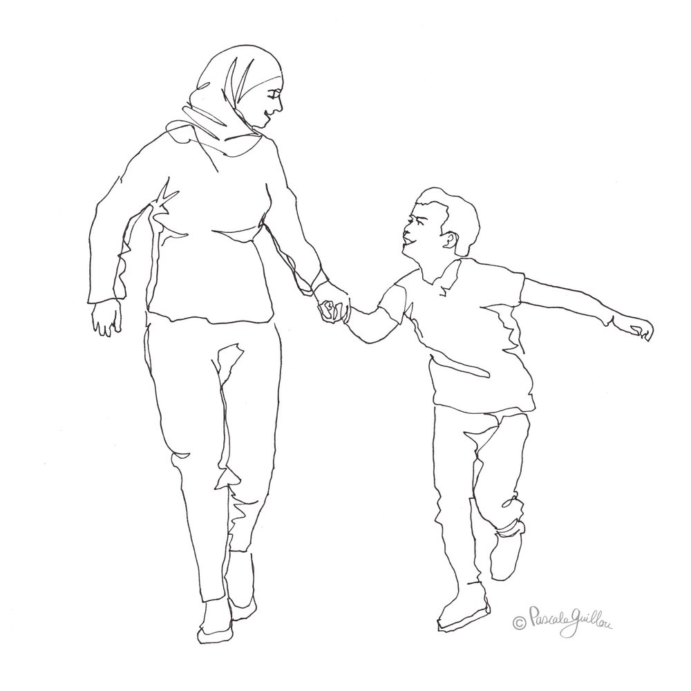 Pascale Guillou Illustration © Mother with veil walking with son.jpg