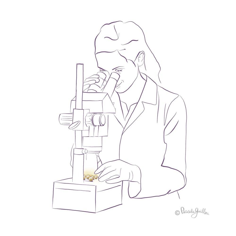 Pascale Guillou Illustration © Woman Microscope Laboratorium.jpg