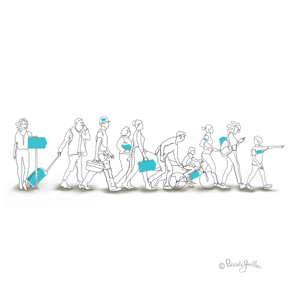 Pascale Guillou Illustration © People Crowd walking.jpg