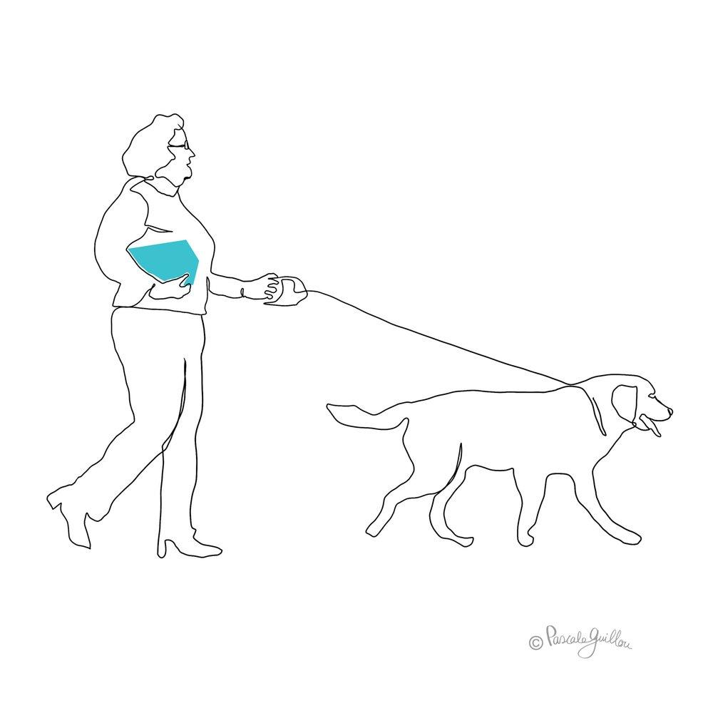 Pascale Guillou Illustration © Woman walking Dog.jpg
