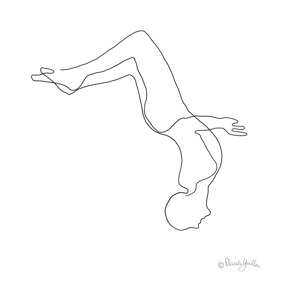 Salto man springing One line Illustration ©Pascale Guillou