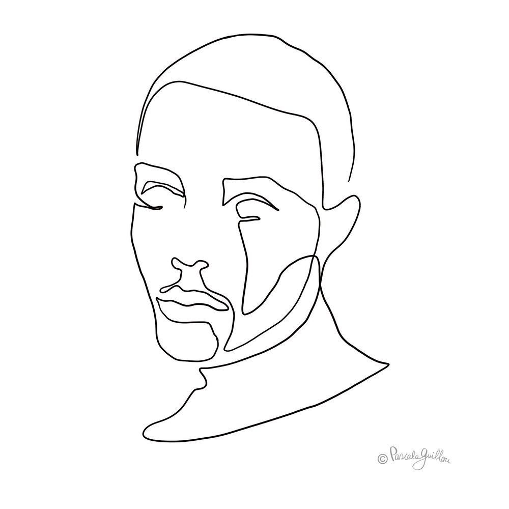 Black man One line portrait ©Pascale Guillou