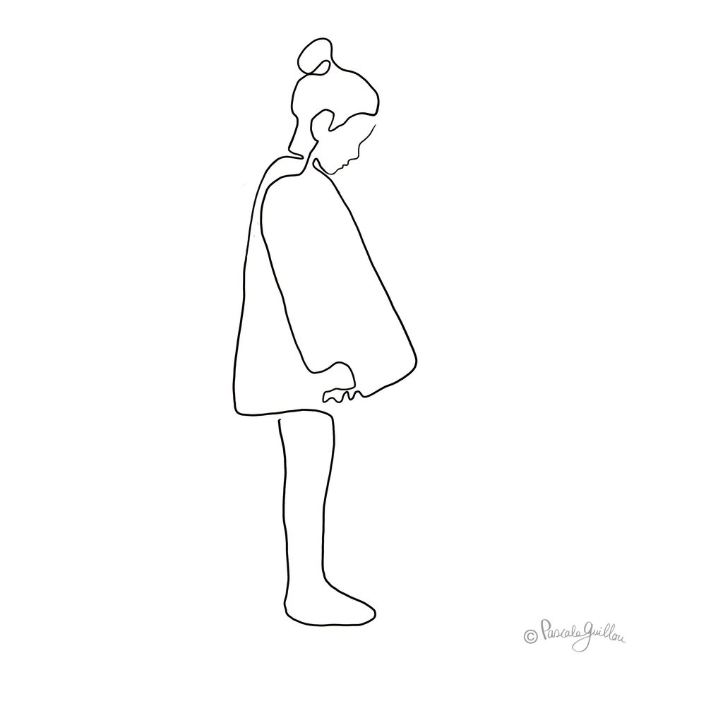 Girl with dress One line Illustration ©Pascale Guillou