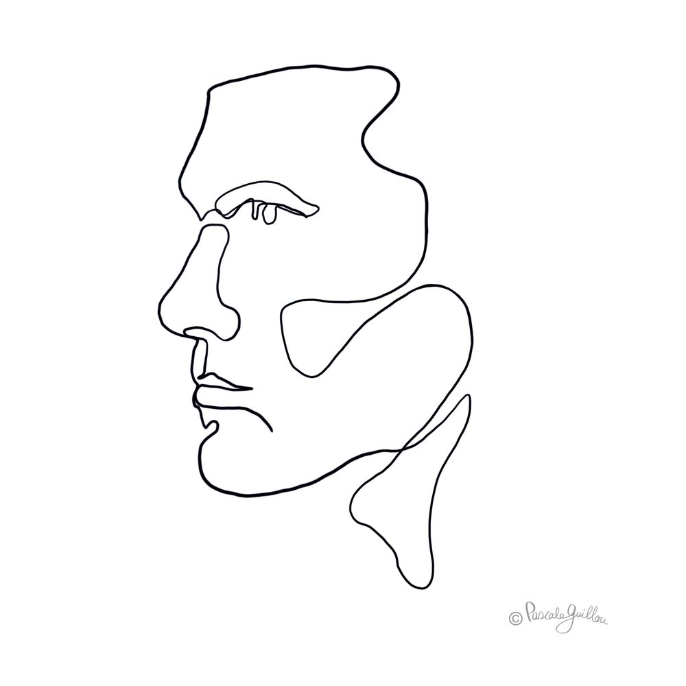 Man Profile One line portrait ©Pascale Guillou Illustration