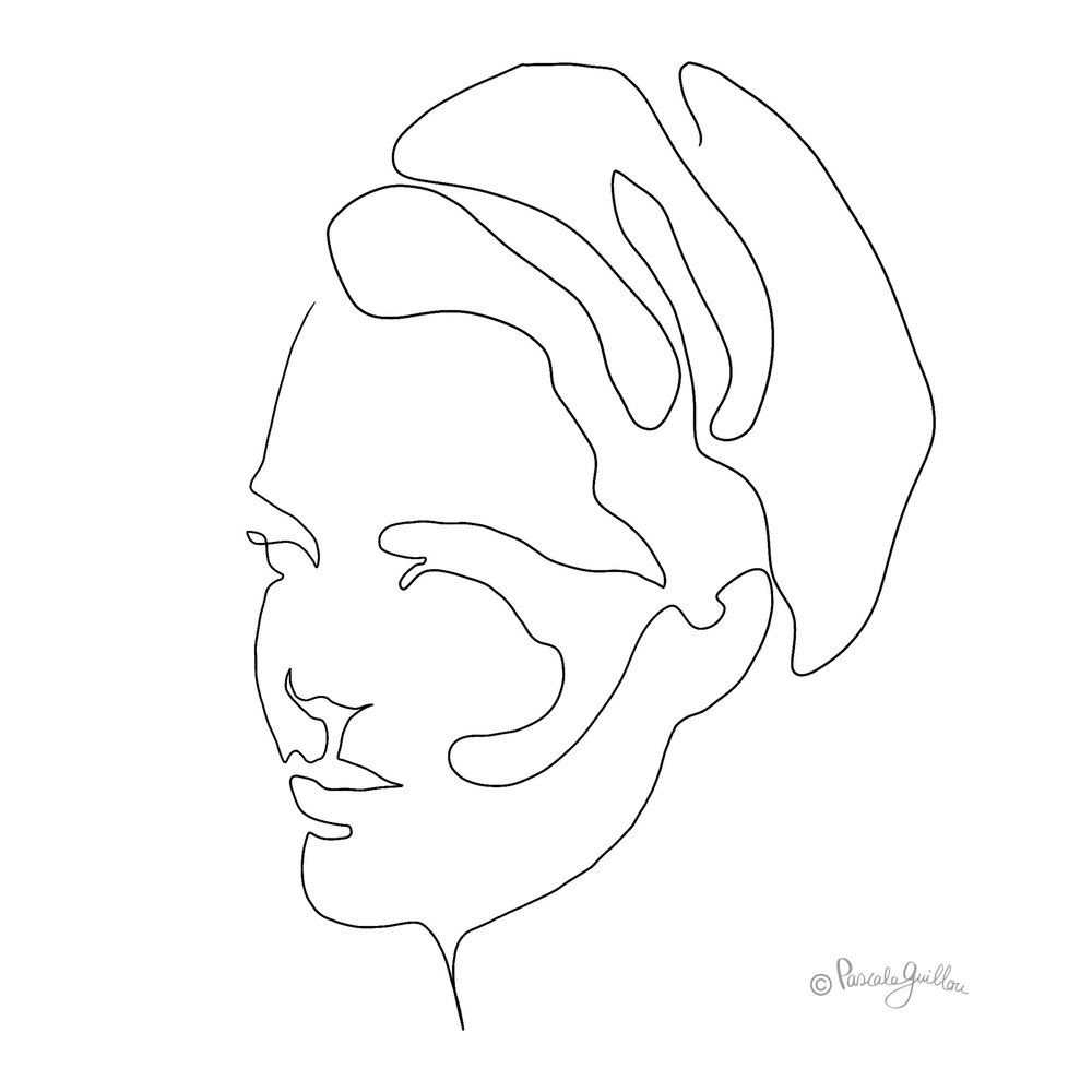Woman 4 One line portrait ©Pascale Guillou