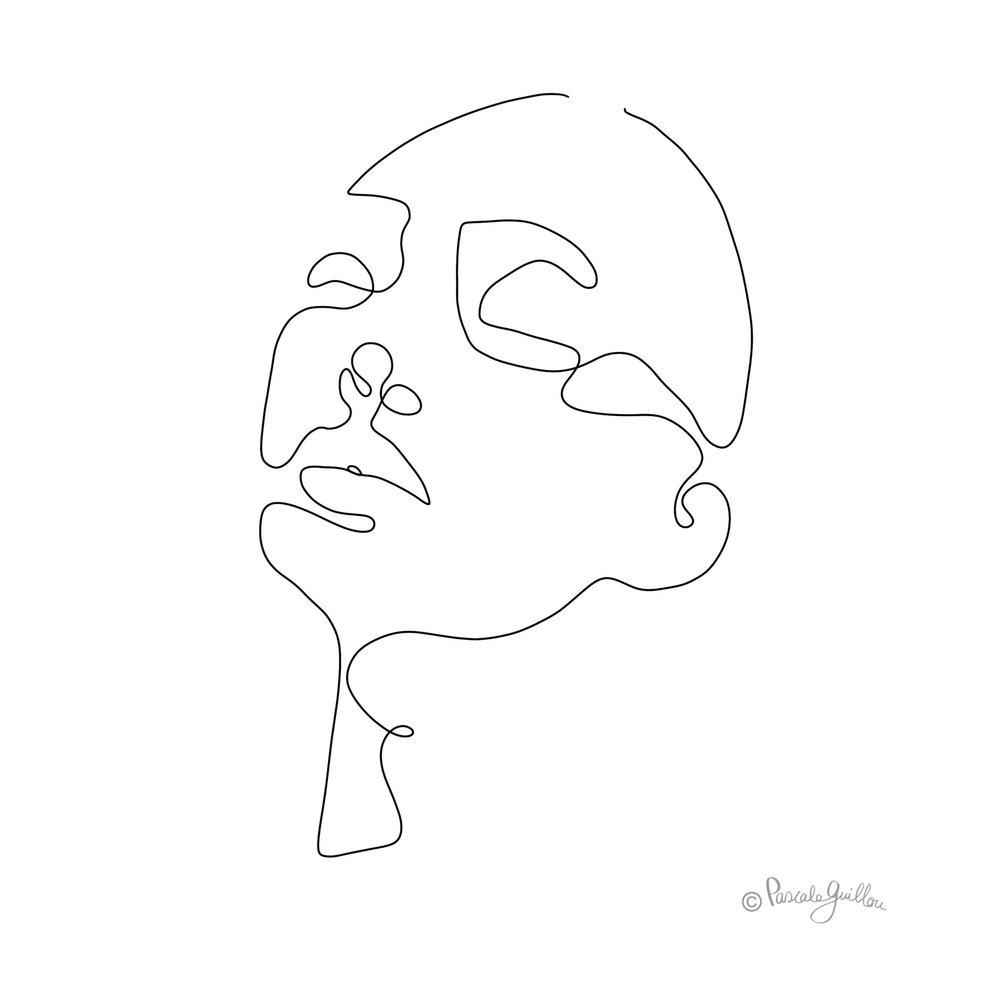 Woman 2 One line portrait ©Pascale Guillou