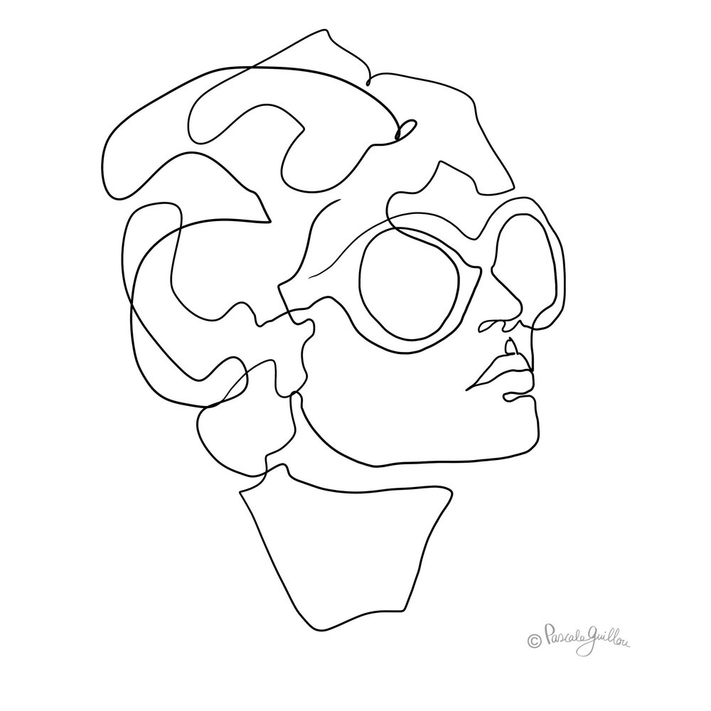 Woman sun glasses One line portrait ©Pascale Guillou