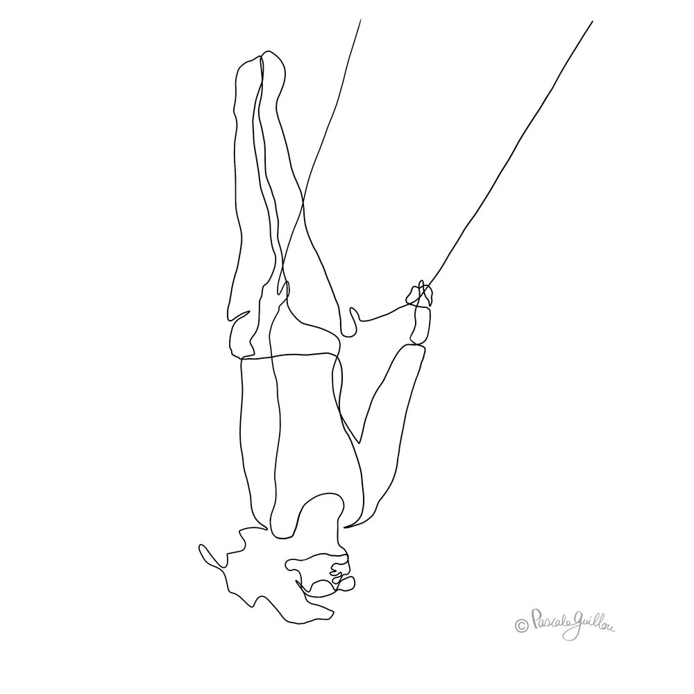 Woman on a swing One line Illustration ©Pascale Guillou