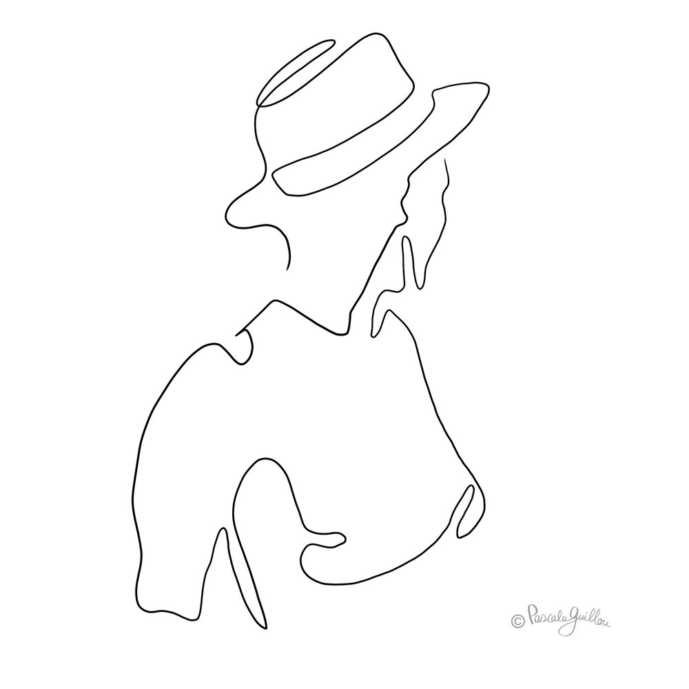 Woman with hat One line portrait ©Pascale Guillou