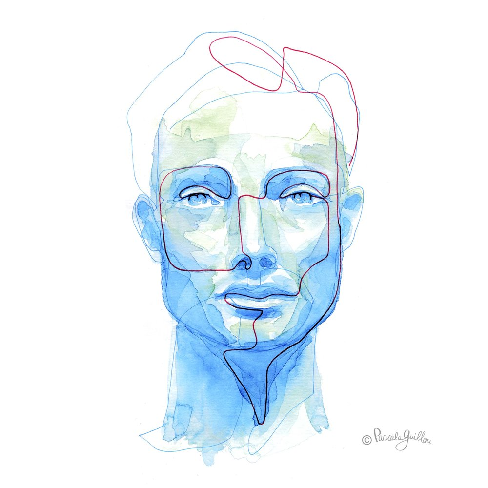 Man Blue 1 One line portrait ©Pascale Guillou