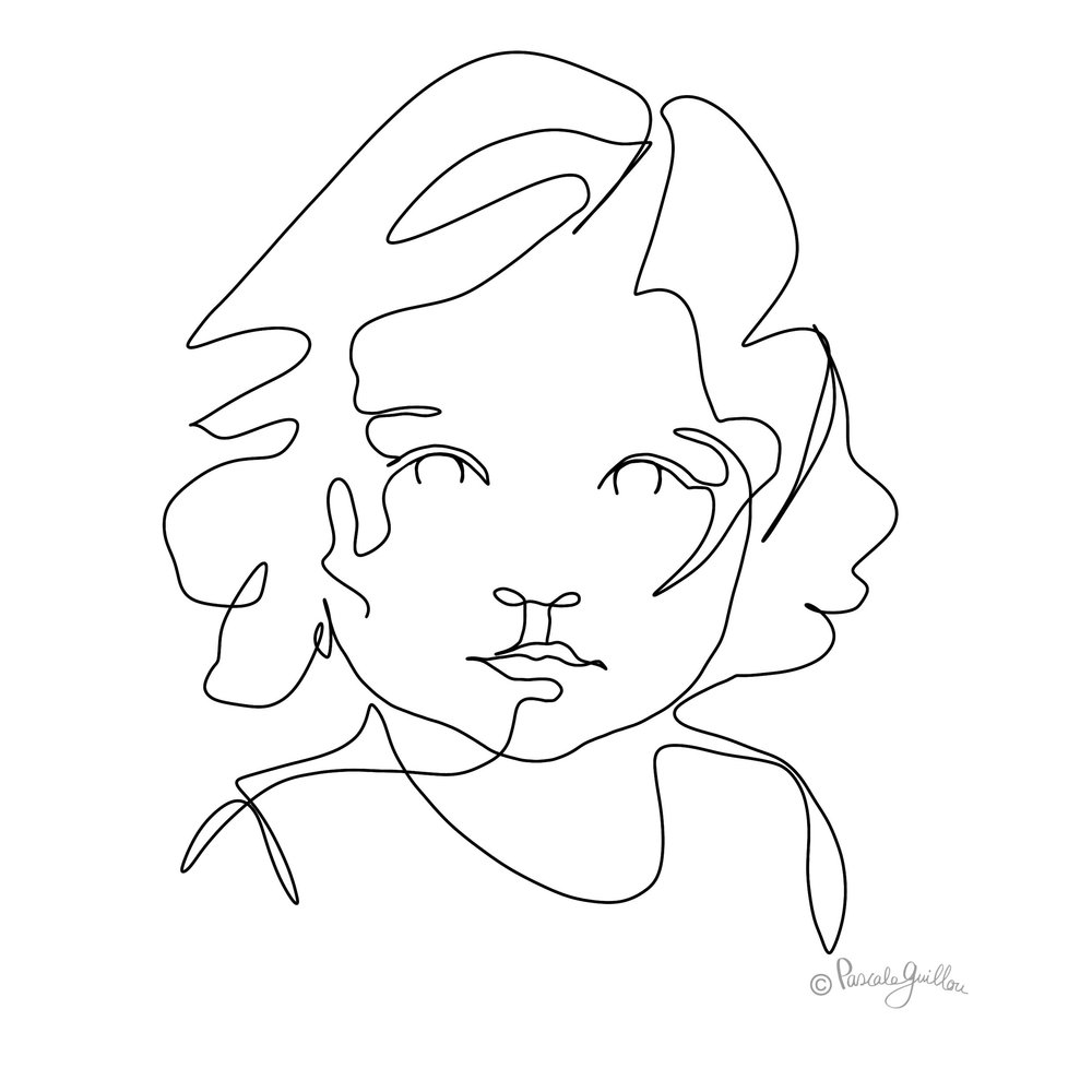 Girl Big eyes One line portrait ©Pascale Guillou Illustration