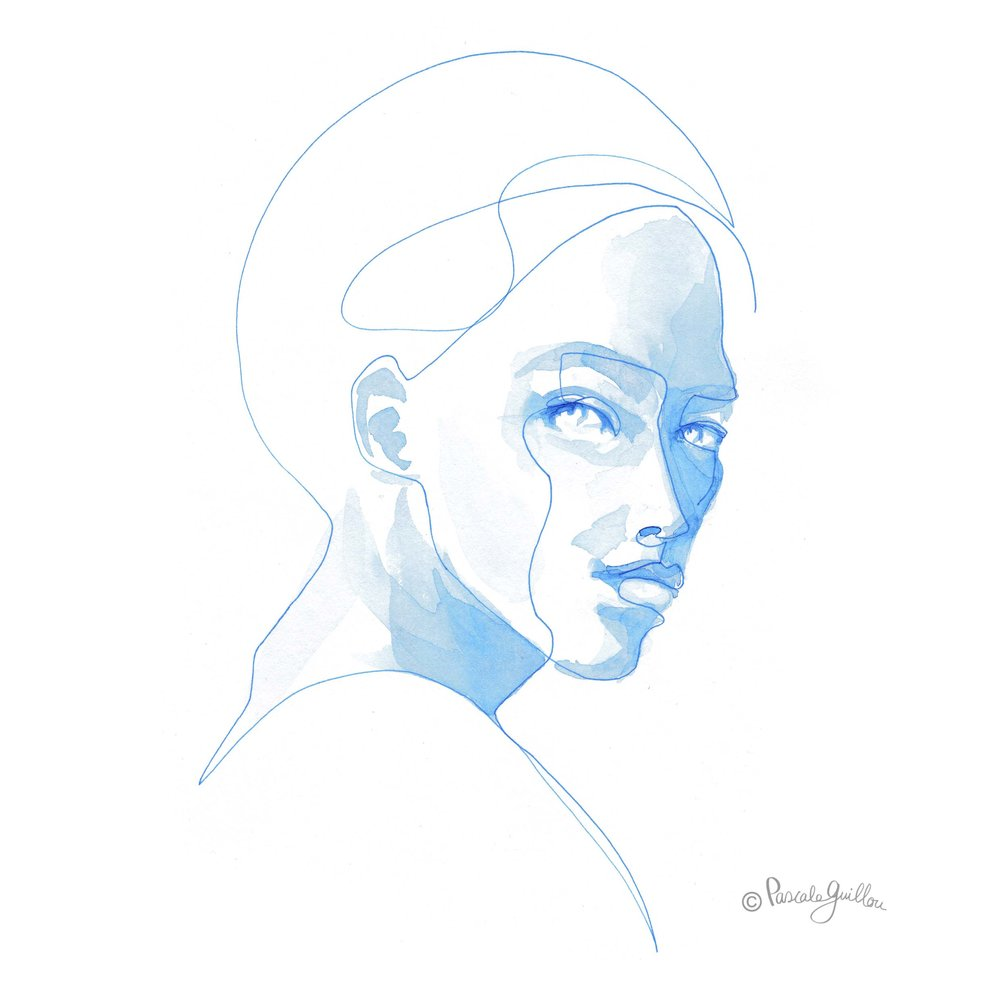 Woman Blue 1 One line portrait ©Pascale Guillou