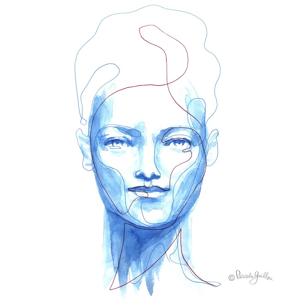 Pascale Guillou Illustration © Woman Blue Watercolour red Line High hair.jpg