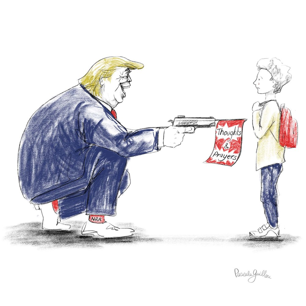 Pascale Guillou Illustration © Trump Parkland Shooting.jpg