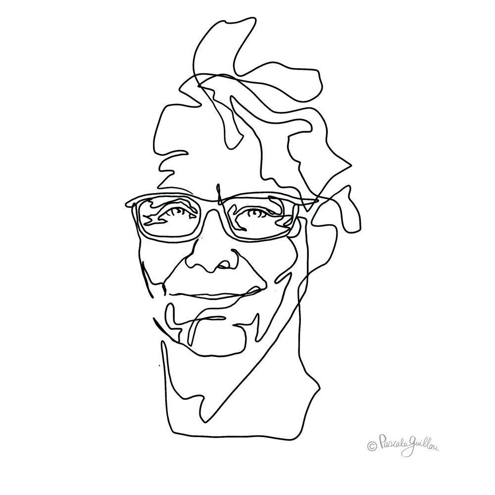 Diederick Kraaijeveld Portrait one line ©Pascale Guillou Illustration - Single Line - Continuous Line Drawing