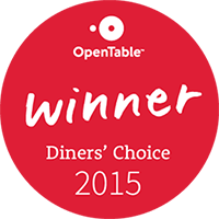 Winner of OpenTable Diner's Choice 2015