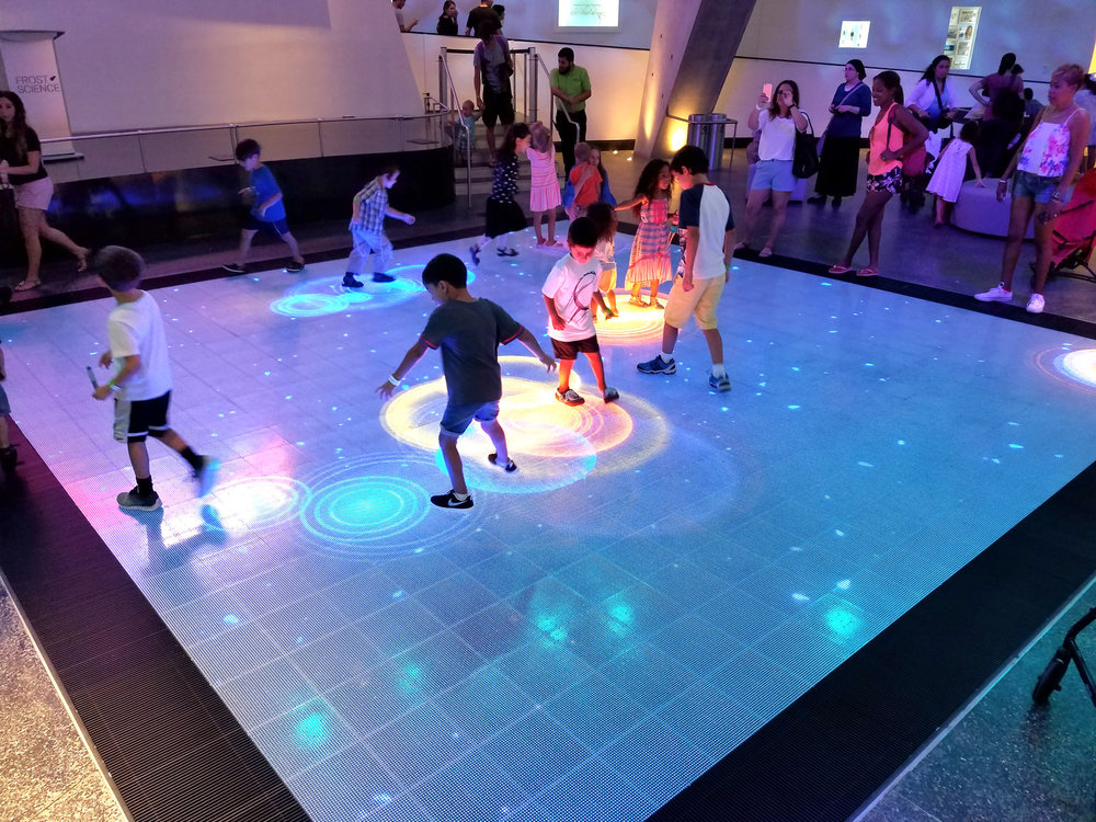 Current picture of Museum Patrons engaged on the ActiveFloor.
