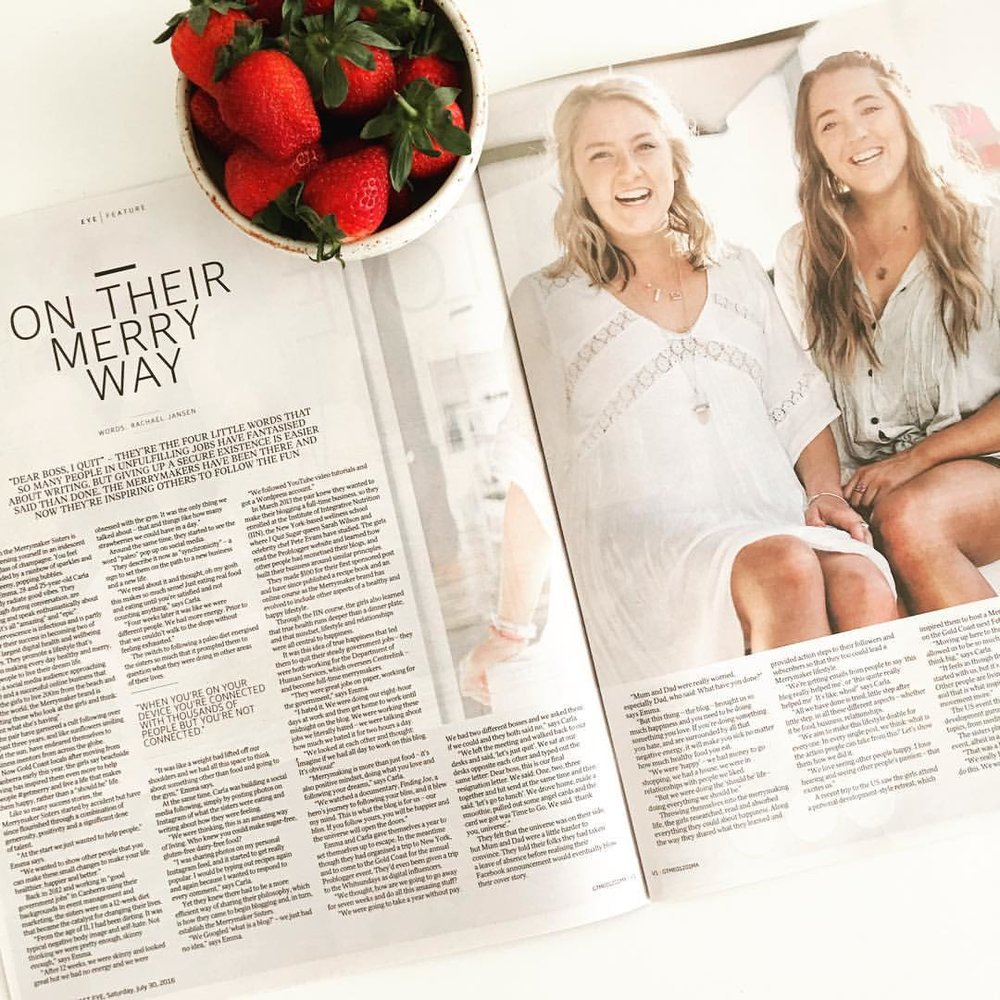 Magazine feature of The Merrymaker Sisters