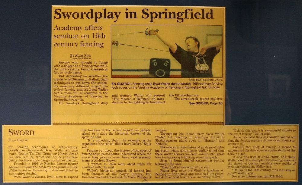 Swordplay in Springfield