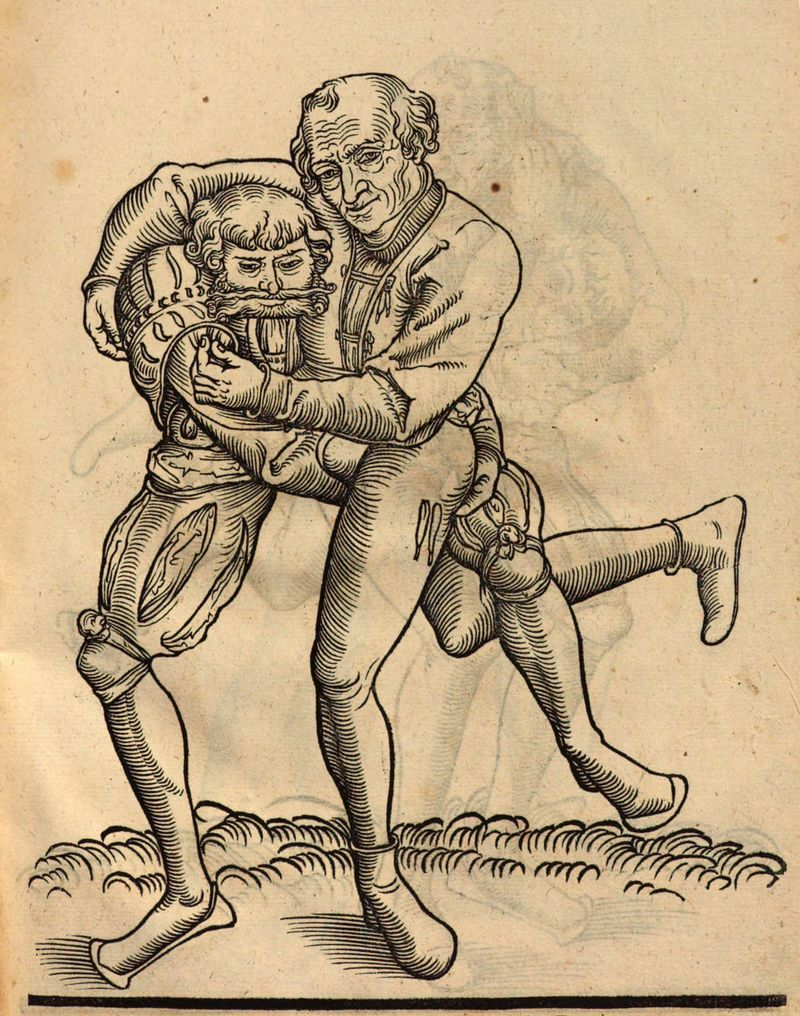 A Ringen technique for throwing the opponent, from Fabian von Auerswald's 1539 wrestling treatise
