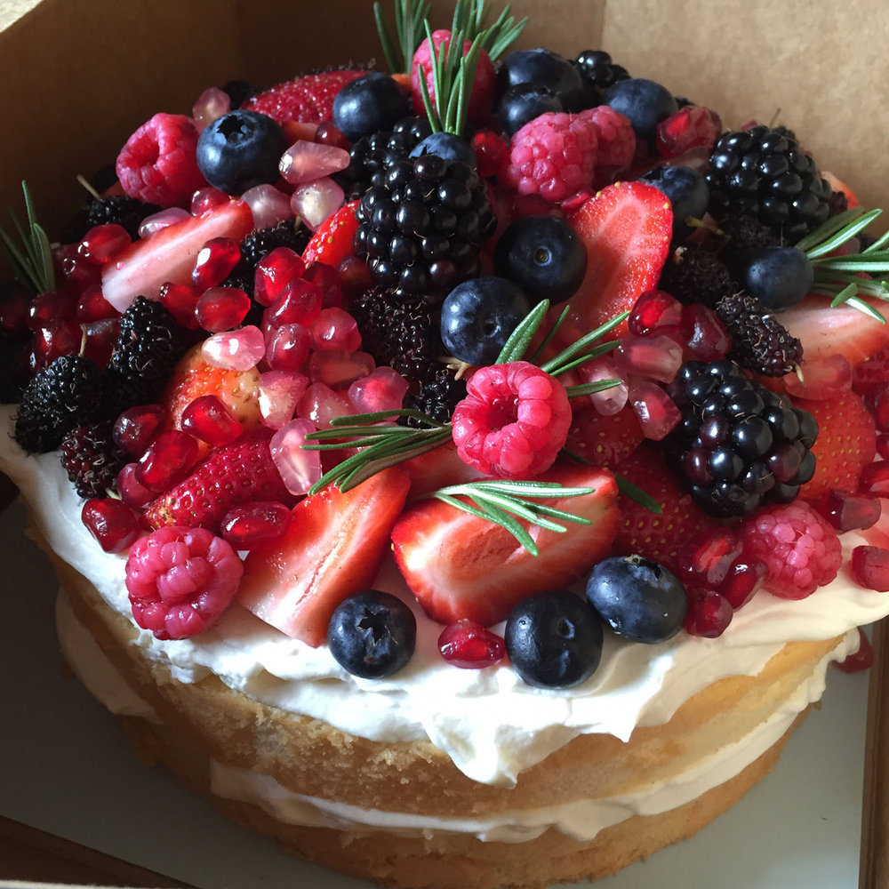 Soft Vanilla   - Vanilla sponge cake and whipped cream topped with seasonal berries Fruits may not be exactly identical as shown. Seasonal fruits apply. Medium = 1,700 THB (8 servings)Large = 2,500 THB (12 servings)