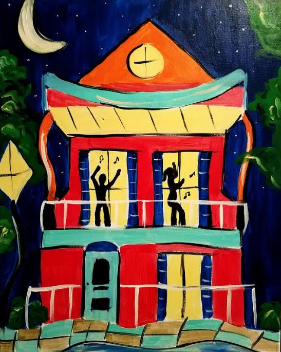 February 24th @ 7pm - Public Paint-$30 Covers all supplies and materials.Artist: Nina J | Instructor: Nina JMusic: Zydeco