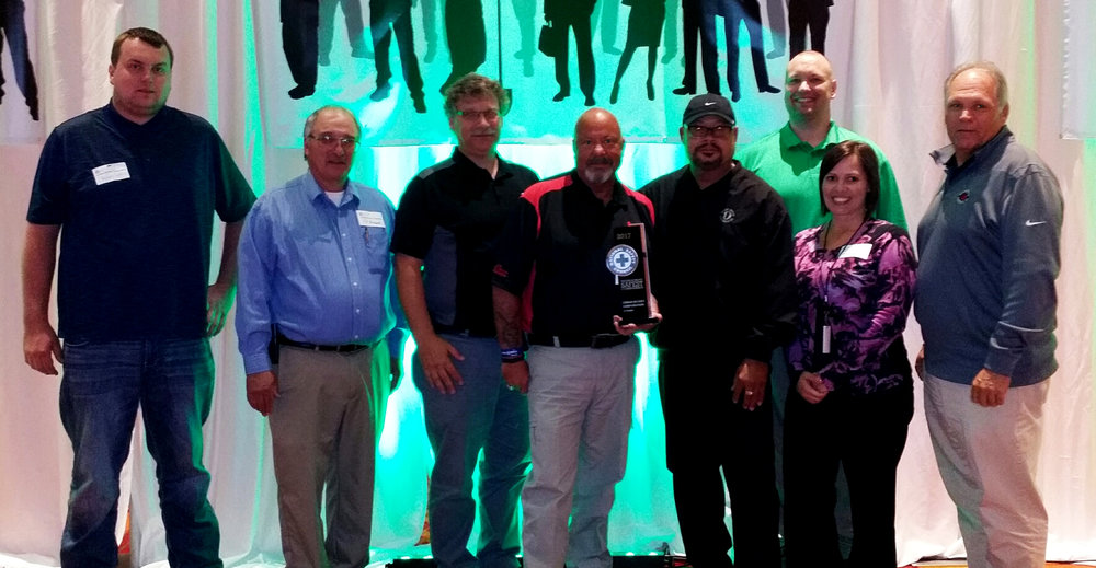Jerod Hendricks/Lyman-Richey   Employees representing Lyman-Richey at the Nebraska Safety Council's annual Celebration of Safety luncheon: (from left) Peyton Connelly (Field Safety Specialist); Ted Howard (Safety & Blasting Superintendent - Lyman-Richey Sand & Gravel), Tony Swoboda (Corporate Plant Maintenance and Construction Manager), Dave Dailey (Corporate Safety Director), George Claxton (Safety Administrator), Shawn Cassidy (Field Safety Specialist), Andrea Simpson (Safety Coordinator), Doug Carroll (General Manager - Gerhold Concrete Company, Inc.).