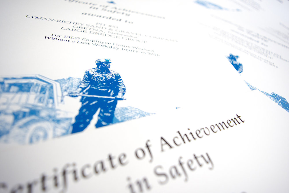 Photo by BRADY JONES/Lyman-Richey Communications The U.S. Mine Safety and Health Administration awarded four Central Sand and Gravel operations and three Lyman-Richey Sand & Gravel operations Certificates of Achievement in Safety for their safety records in 2016.