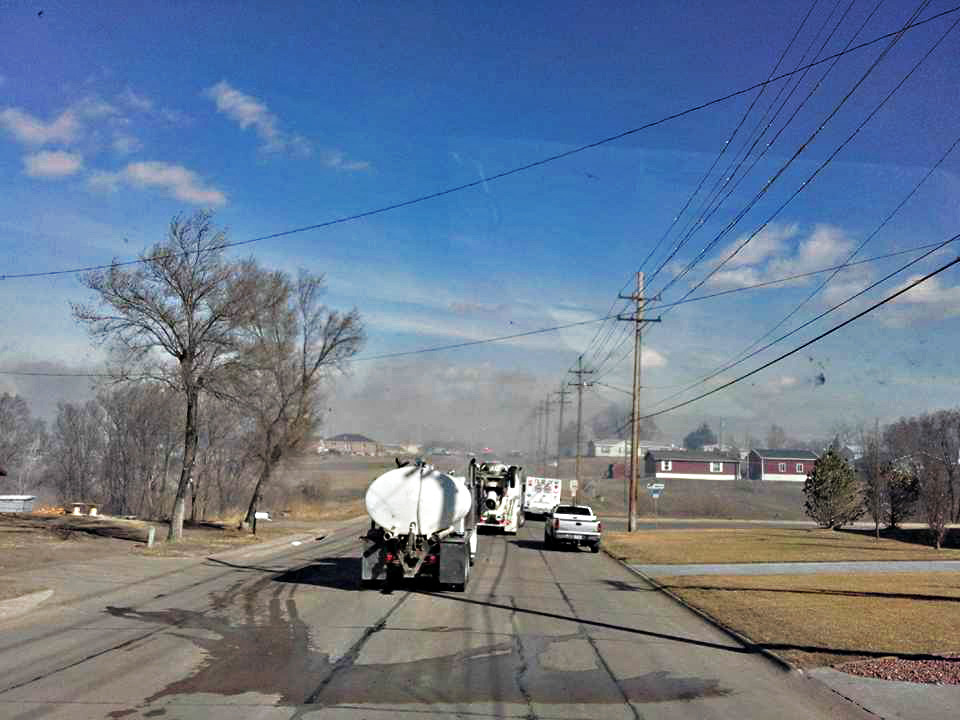 Photo by ROGER HENTHORN/Lyman-Richey  When the McCook fire department put out the call for trucks that could carry water for a grass fire north of town, Gerhold Concrete sent four trucks to help.