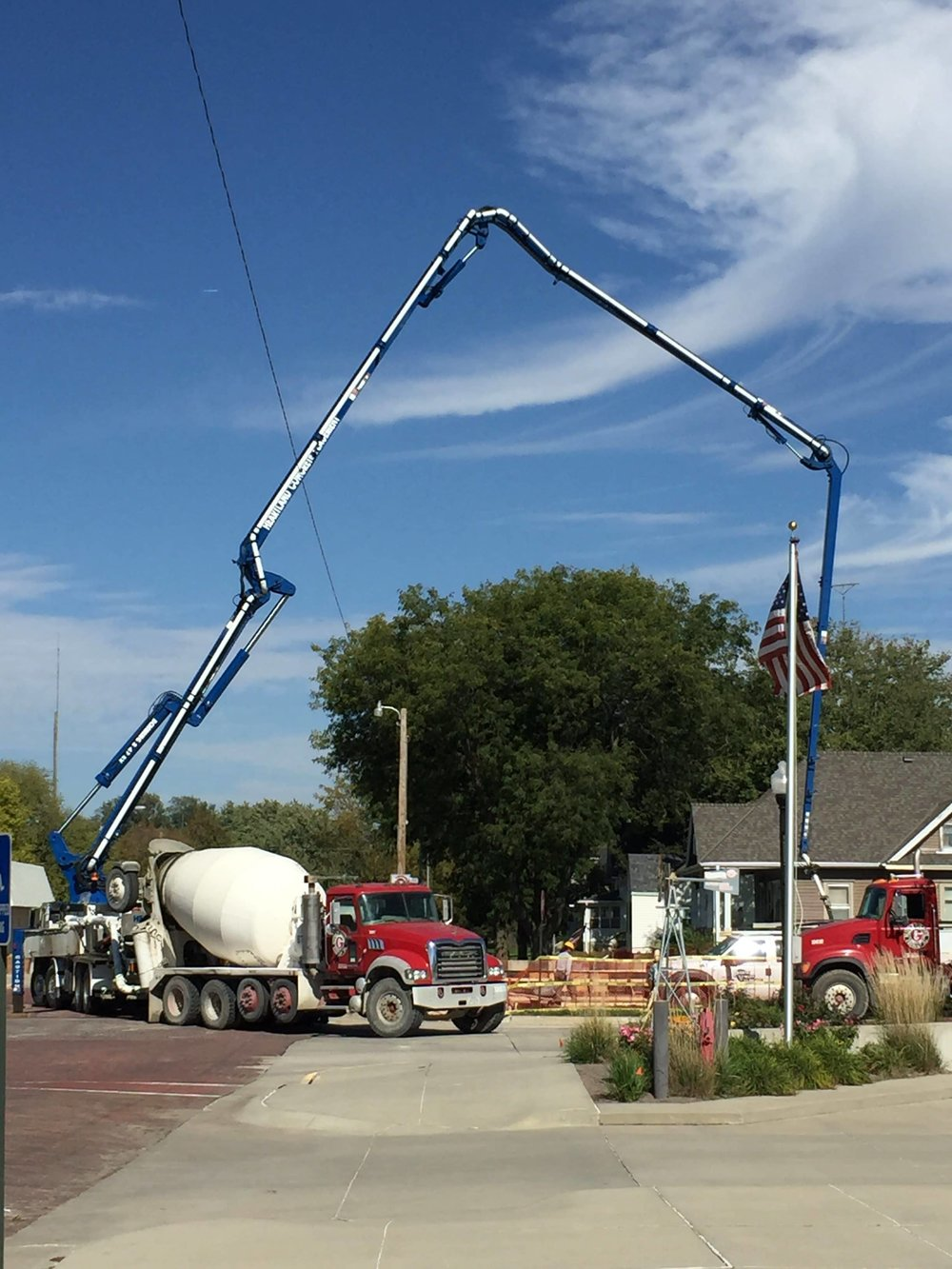 Photo courtesy of the  American Veterans Park     Gerhold Concrete delivers concrete for the foundation of the American Veterans Park in West Point, Neb.
