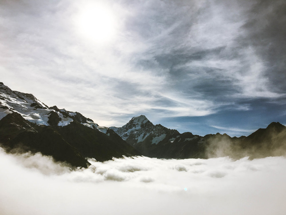 Views of Mt. Cook in Aoraki National Park, South Island