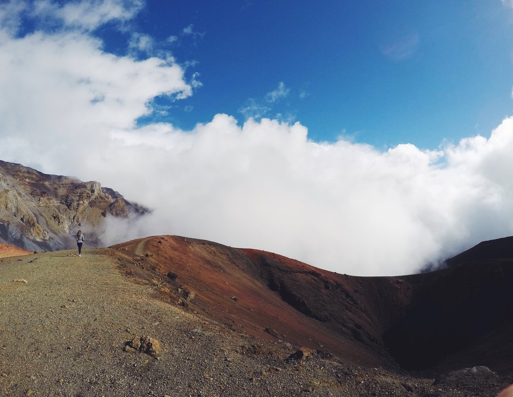 Walking around a crater in Haleakala National Park, Maui