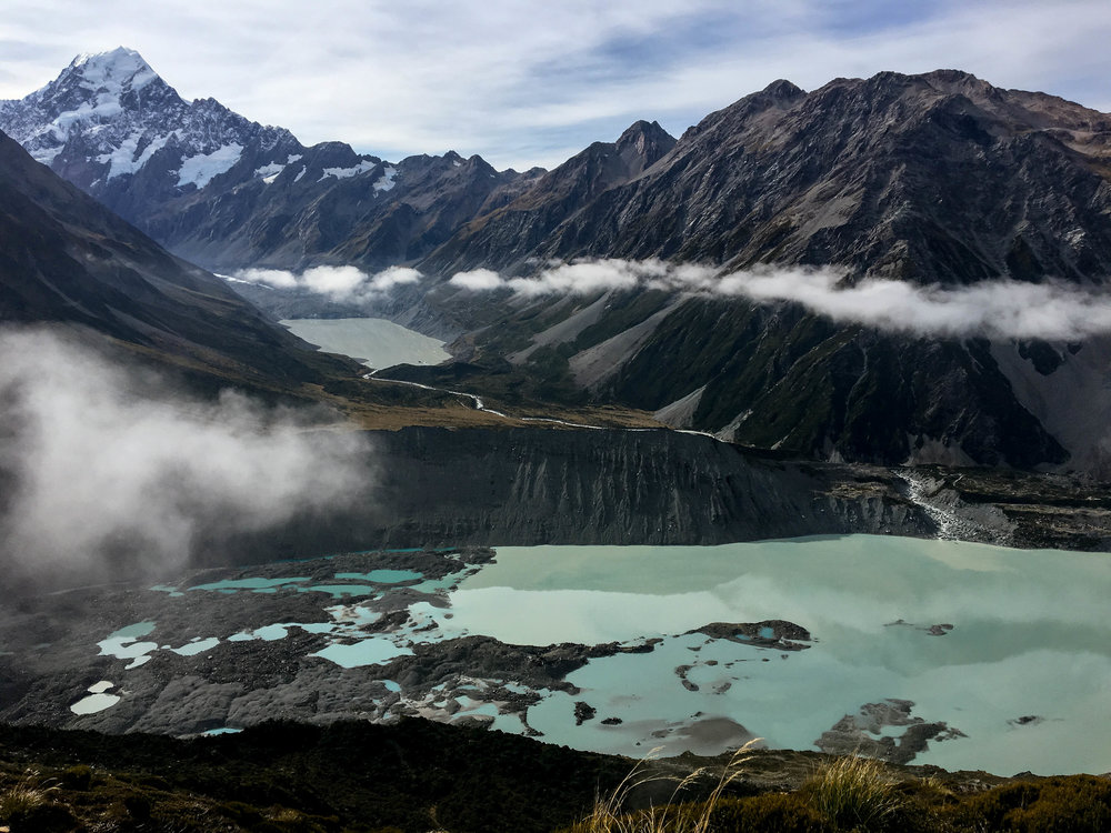While descending the stairs of the Mueller Hut route (of which there are many), you get to take in the views of Mt. Cook and glacial waters.