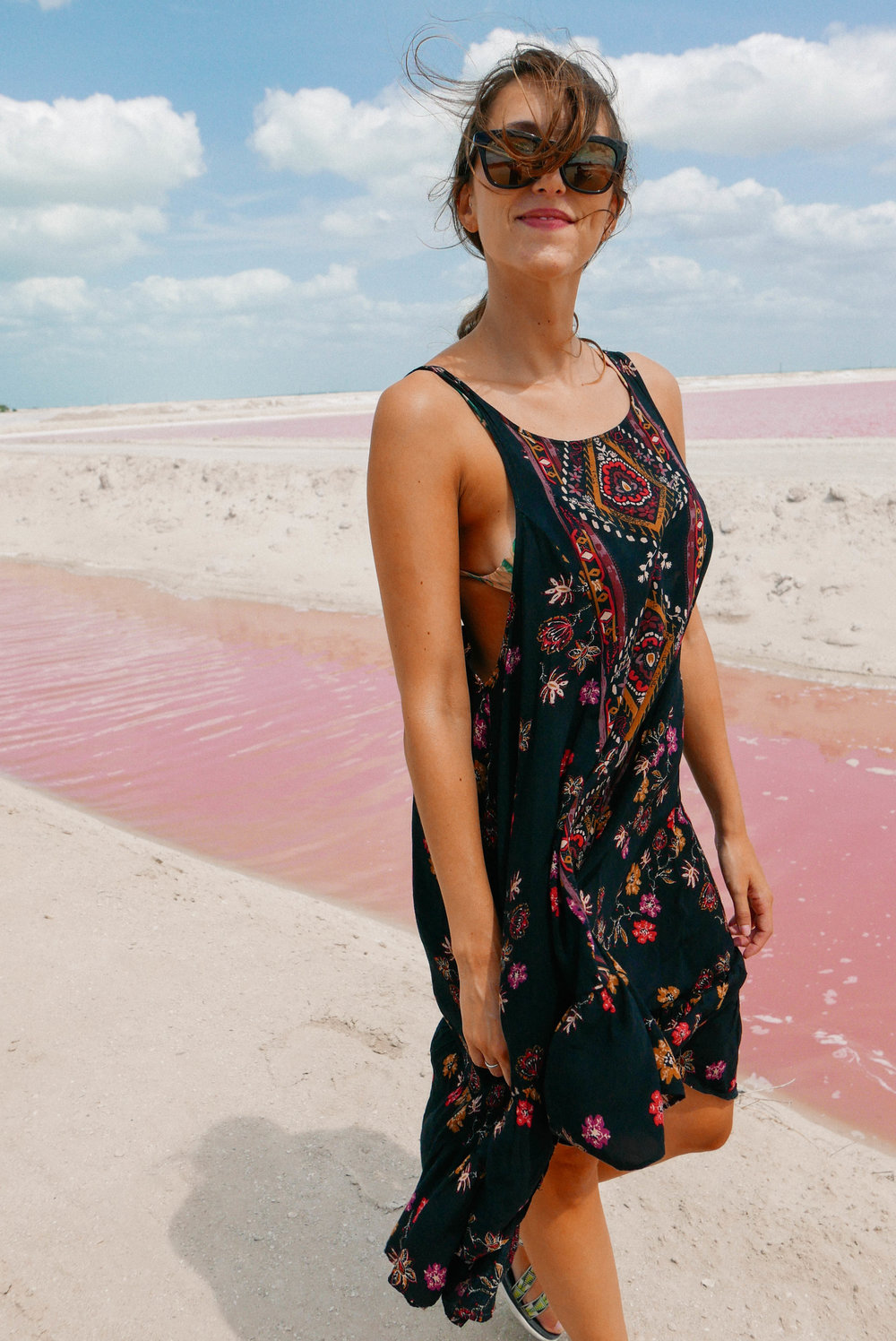Happy as a clam to see the pink waters.