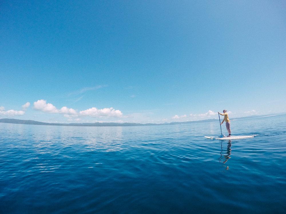 Paddle boarding to the sandbar