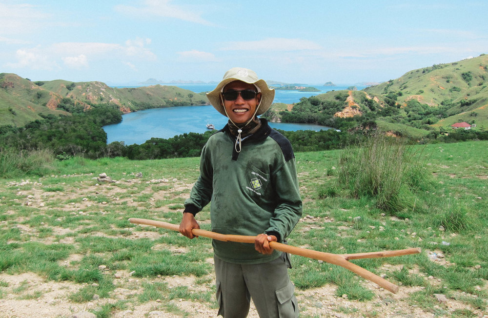Keeping us safe from the komodo dragons! He lived here is whole life and gave us a great tour of Rinca Island.